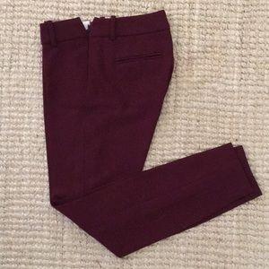 Burgundy wool J. Crew Minnie pants, 00